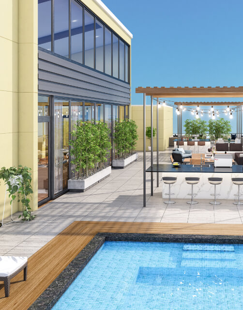 a rendering of the sora minneapolis apartments pool